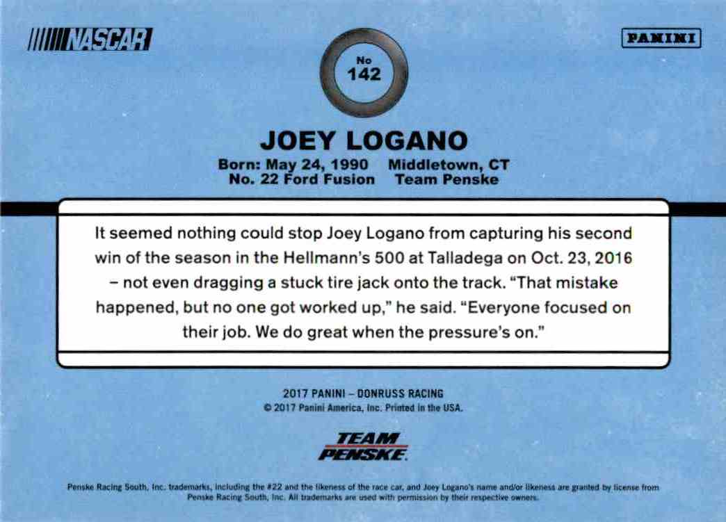 2017 Panini Donruss Racing Joey Logano #142 card back image