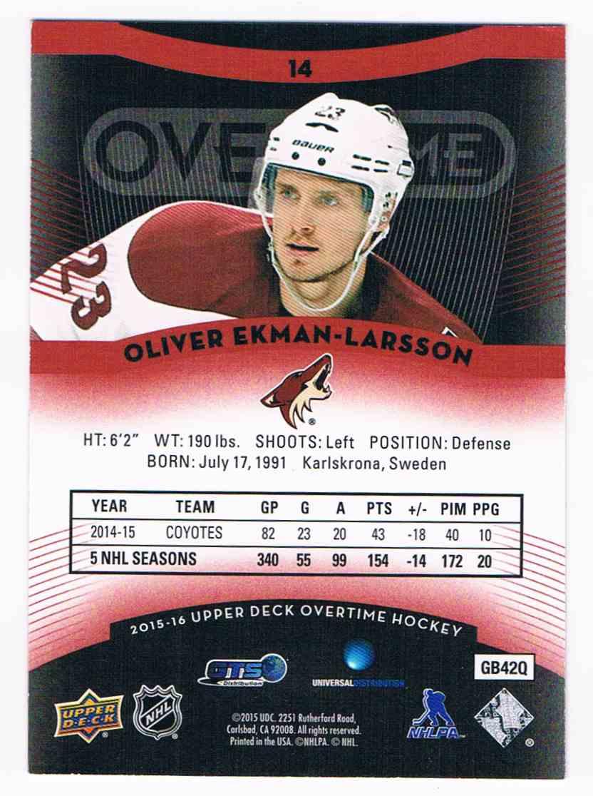 2015-16 Upper Deck Overtime Red Olivier Ekman-Larsson #14 card back image