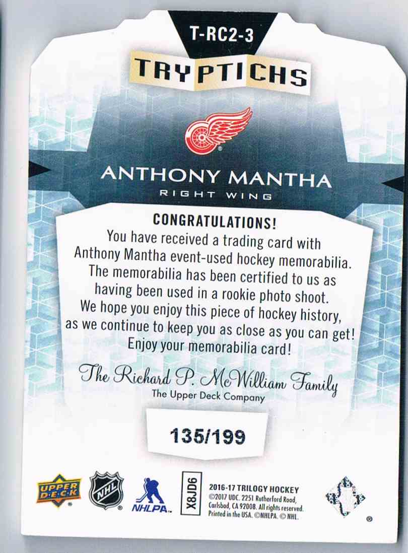 2016-17 Upper Deck Trilogy Tryptichs Anthony Mantha #T-RC2-3 card back image