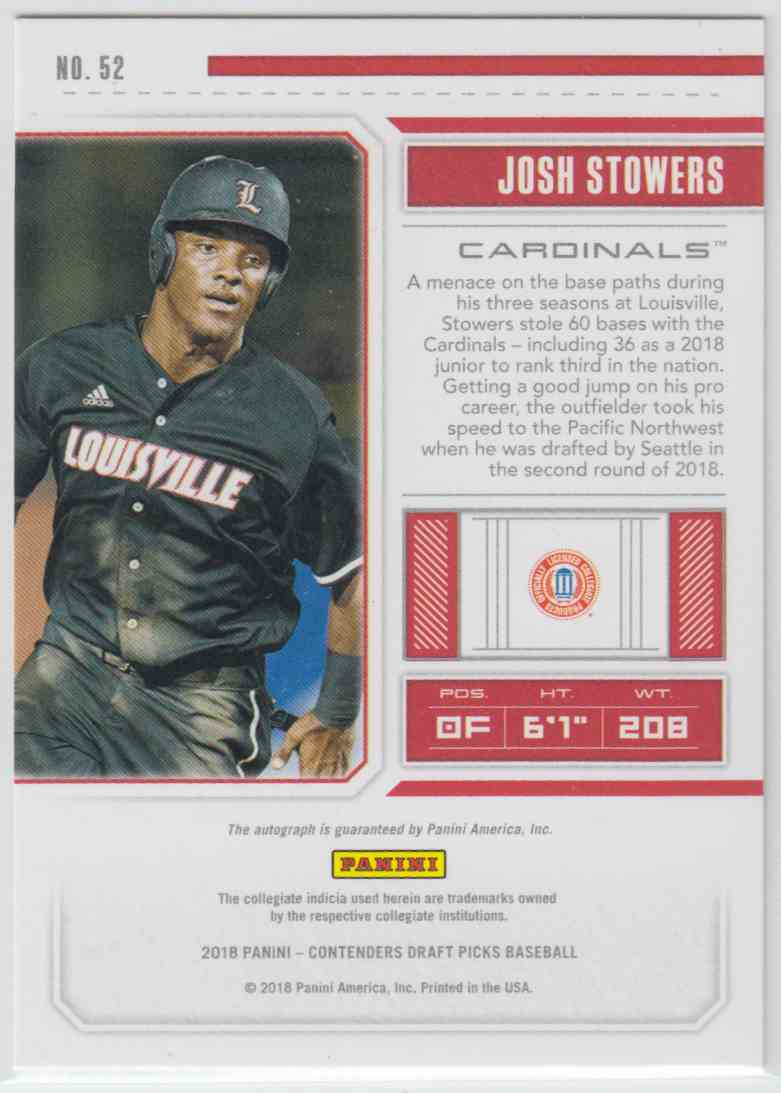 2018 Panini Contenders Draft Picks Rps Draft Ticket Autographs Josh Stowers #52 card back image