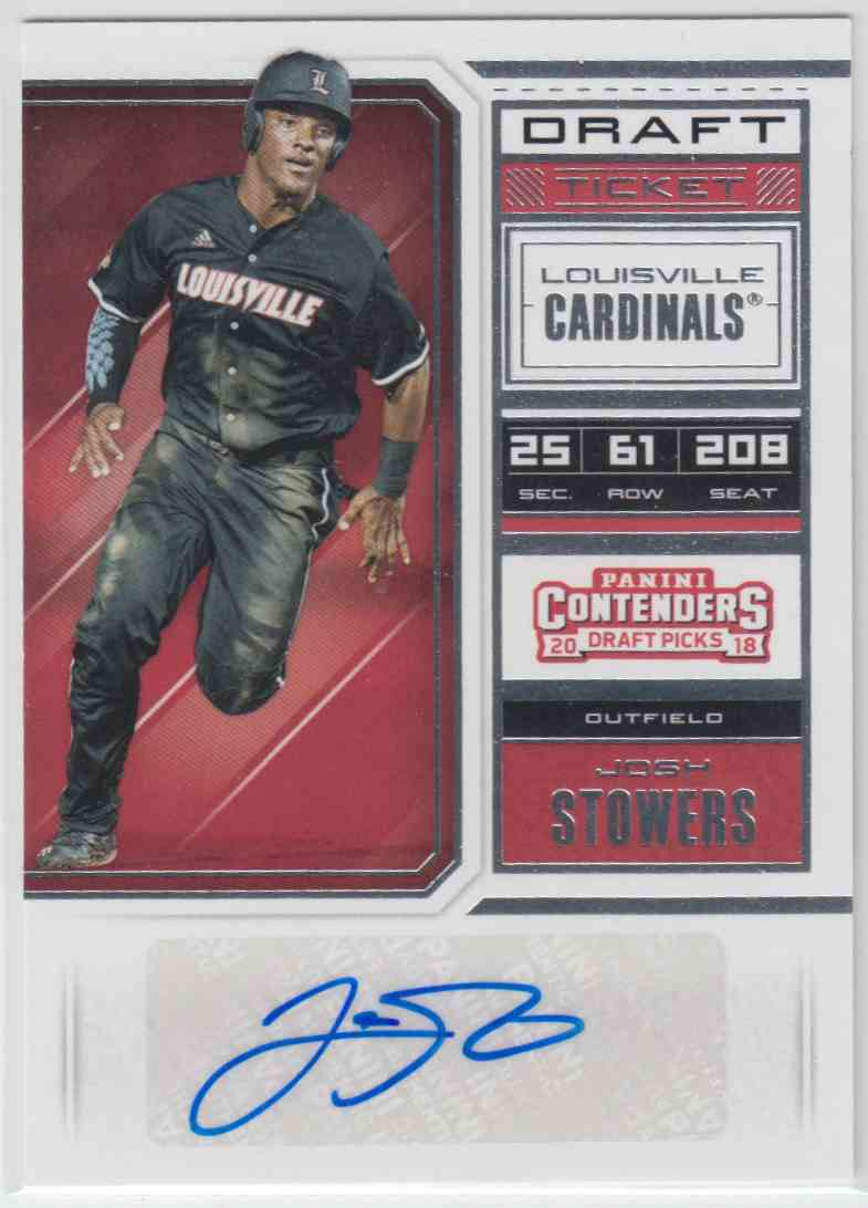 2018 Panini Contenders Draft Picks Rps Draft Ticket Autographs Josh Stowers #52 card front image
