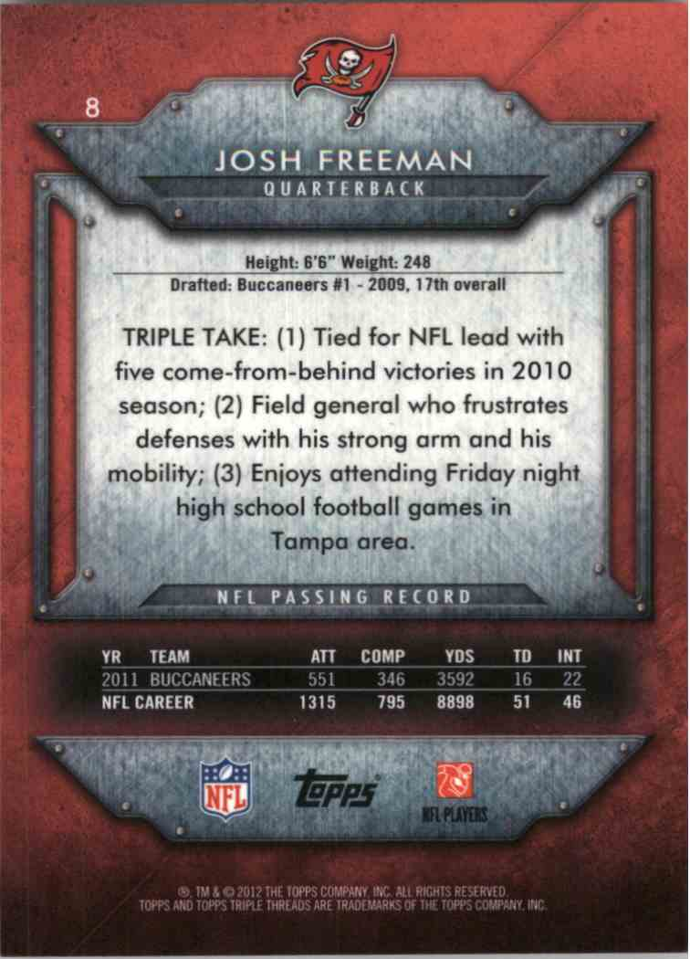 2012 Topps Triple Threads Josh Freeman #8 card back image