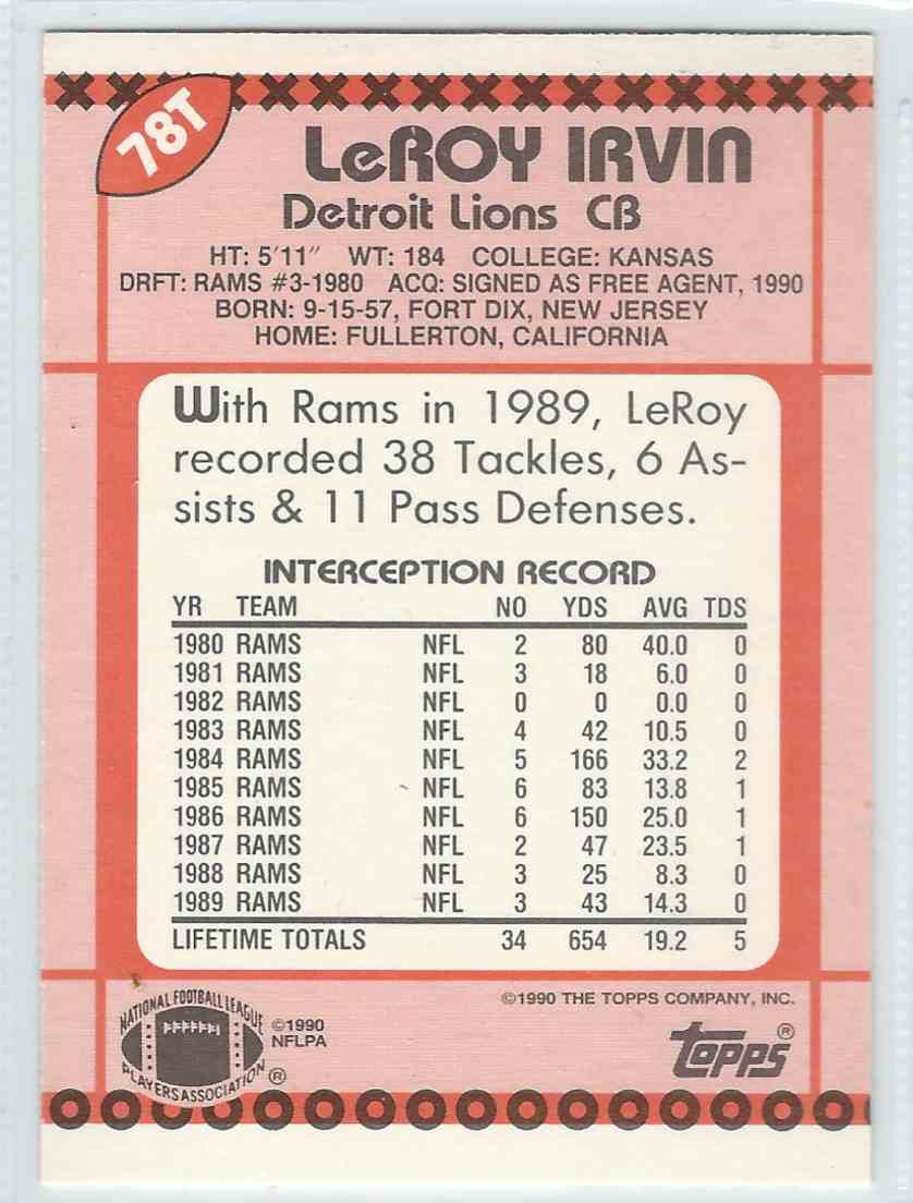 1990 Topps Traded Leroy Irvin #78T card back image