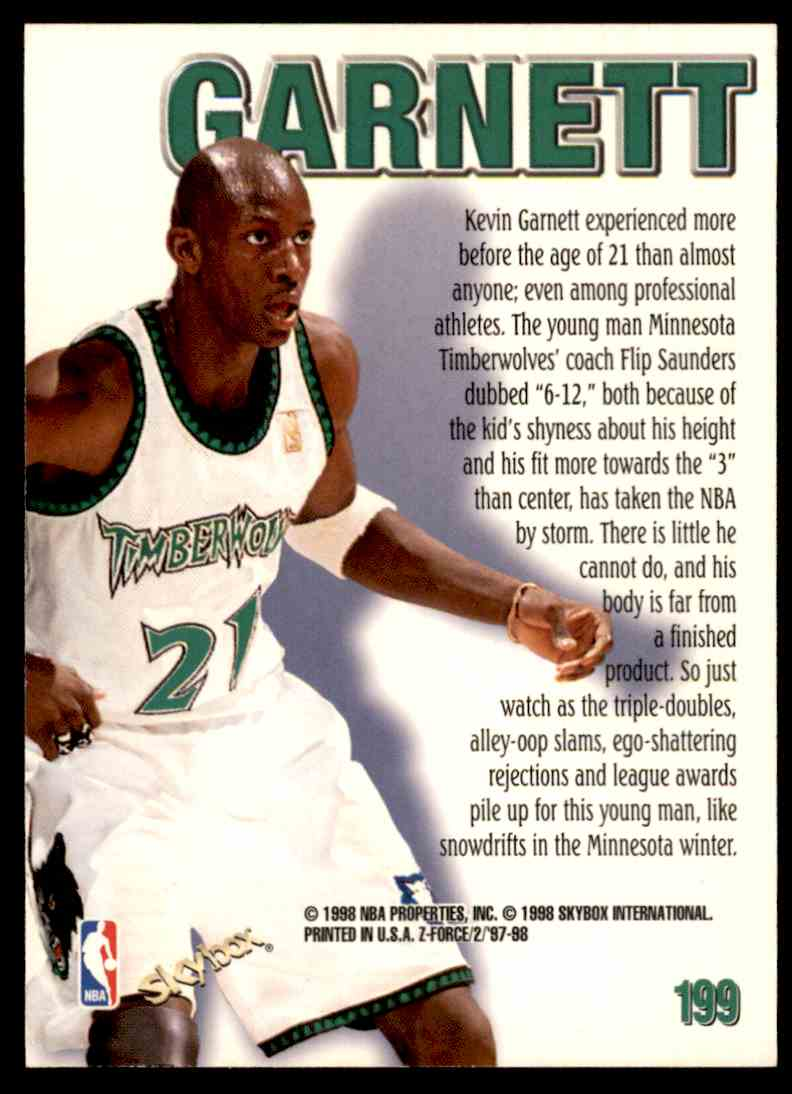 1997-98 Skybox Z Force Zuperman Kevin Garnett #199 card back image