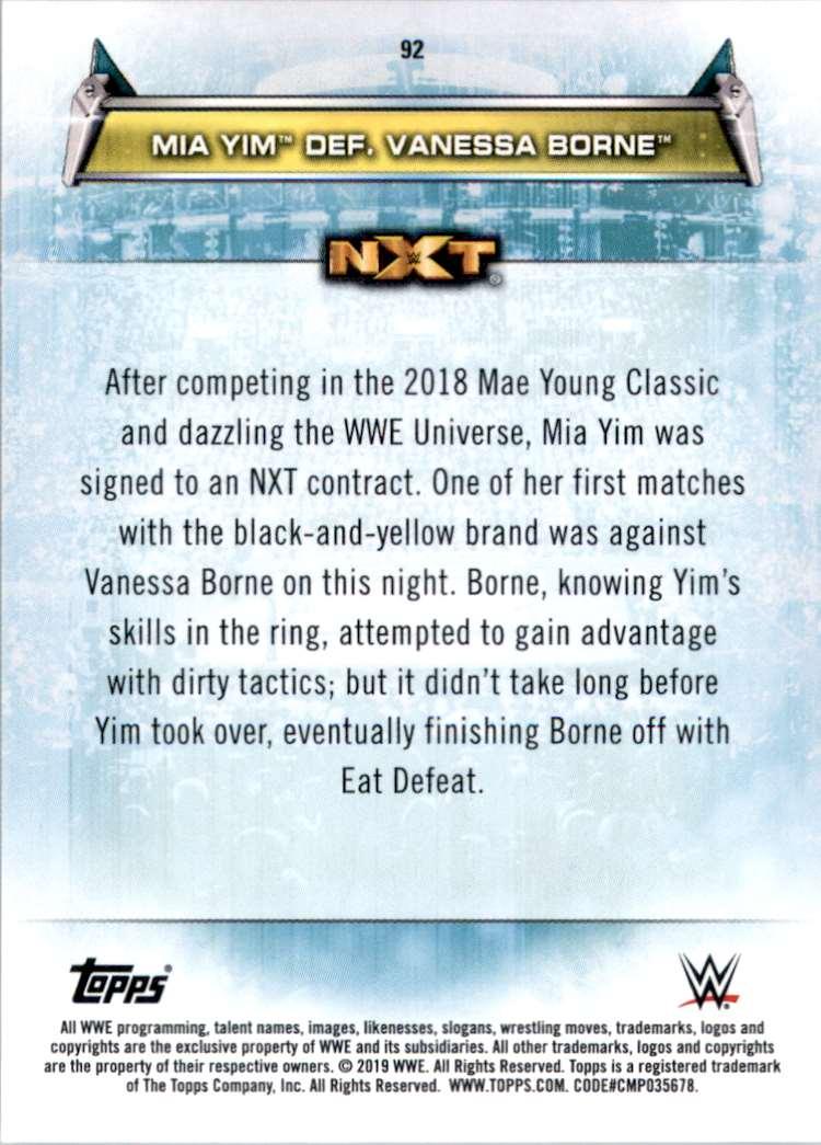 2019 Topps Wwe Women's Division Mia Yim Def. Vanessa Borne #92 card back image