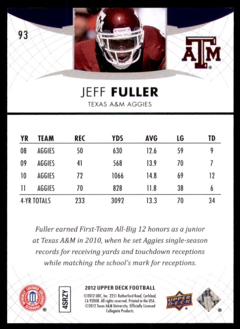 2012 Upper Deck Jeff Fuller #93 card back image