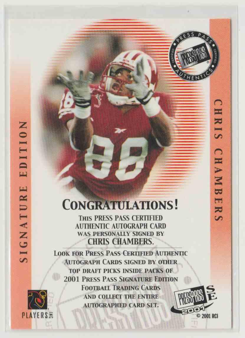 2001 Press Pass Se Autographs Bronze Chris Chambers #8 card back image