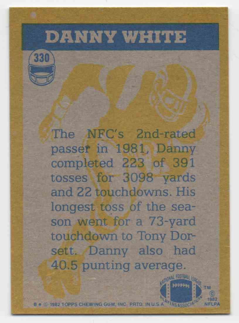 1982 Topps Danny White #330 card back image
