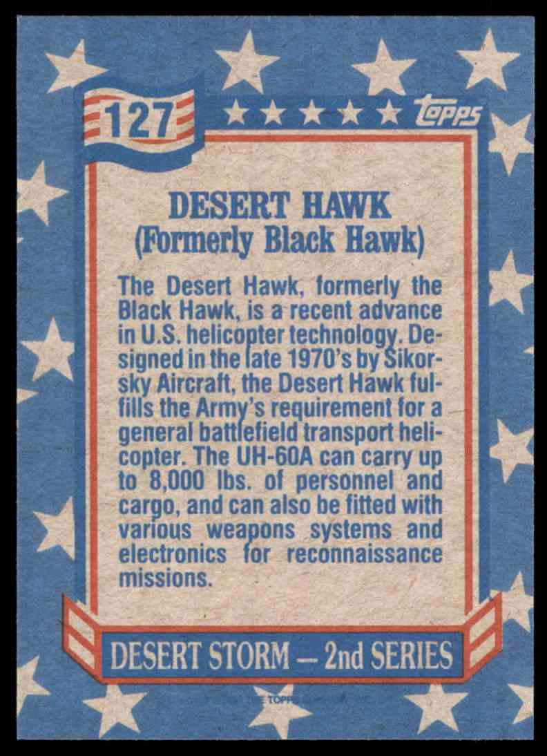 1991 Desert Storm Topps Desert Hawk #127 card back image