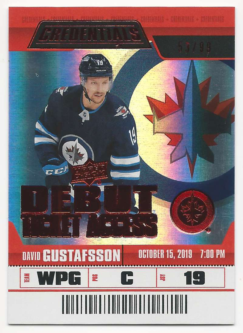 2019-20 Upper Deck Credentials Red David Gustafsson #74 card front image