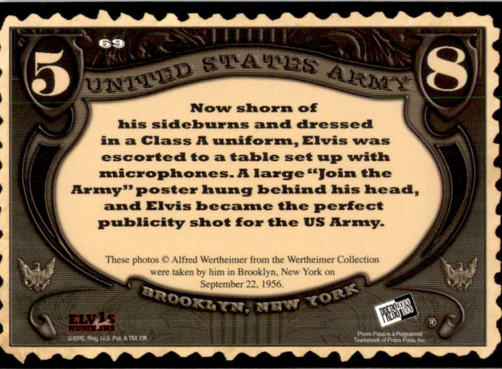 2008 Elvis By The Numbers Wertheimer Army Collection #69 card back image