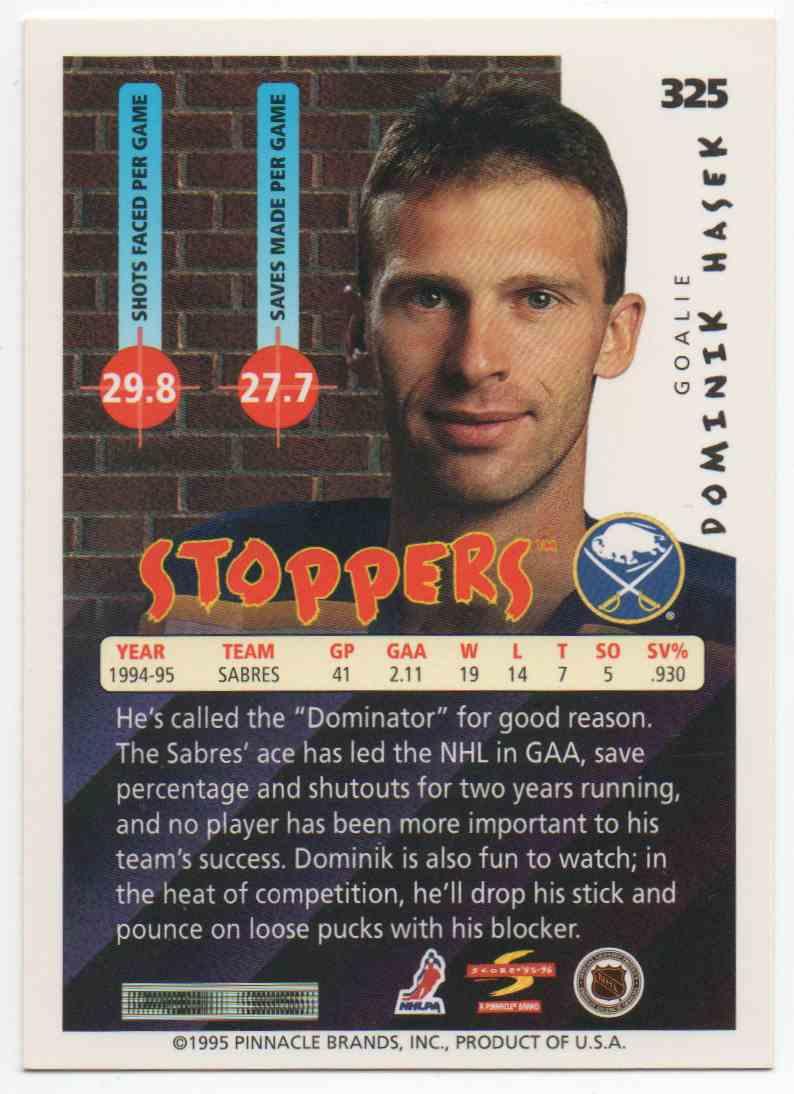 1995-96 Score Dominik Hasek #325 card back image