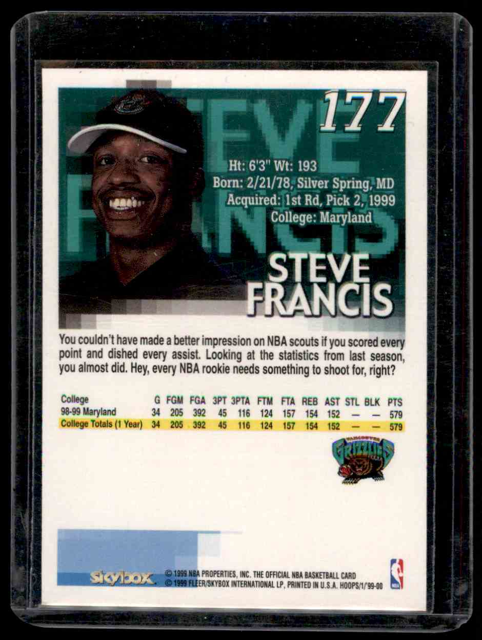 1999-00 Hoops Steve Francis #177 card back image