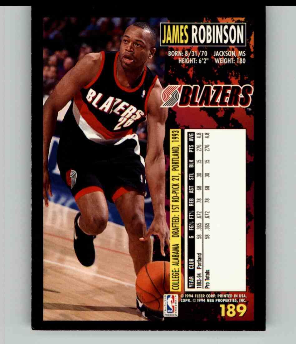 1994-95 Fleer James Robinson #189 card back image