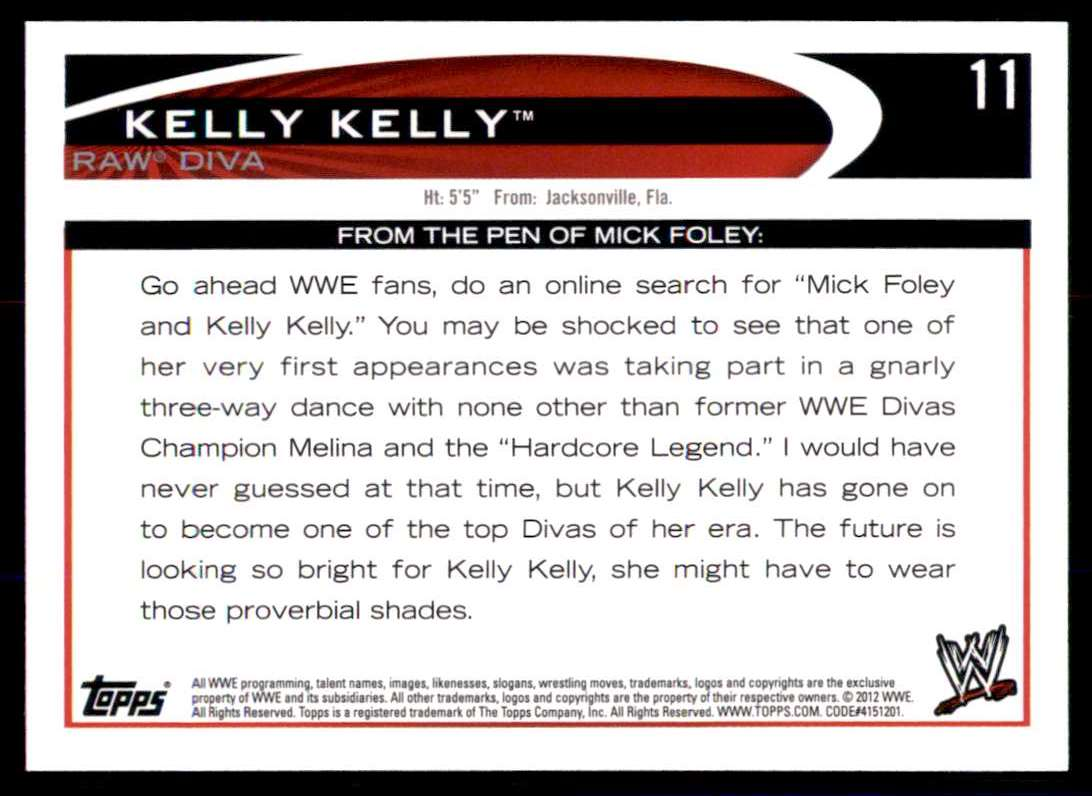 2012 Topps Wwe Blue Kelly Kelly #11 card back image