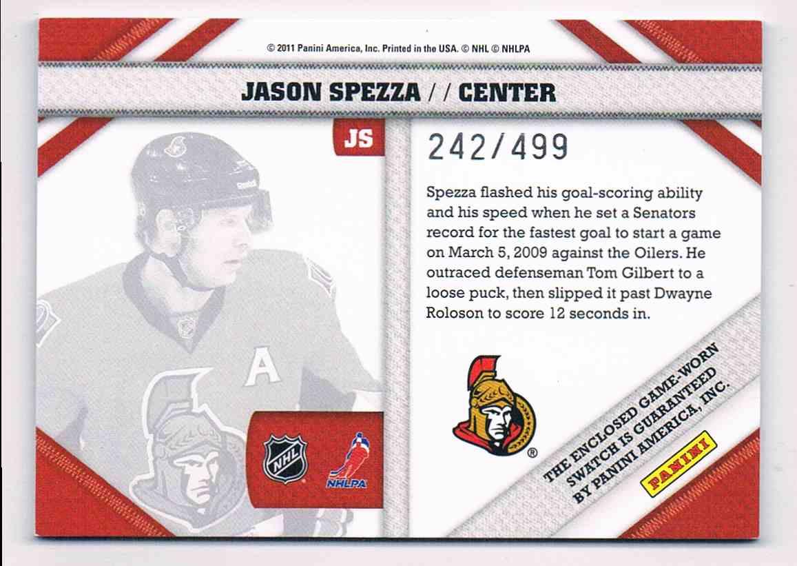 2010-11 Panini Pinnacle Jason Spezza #JS card back image