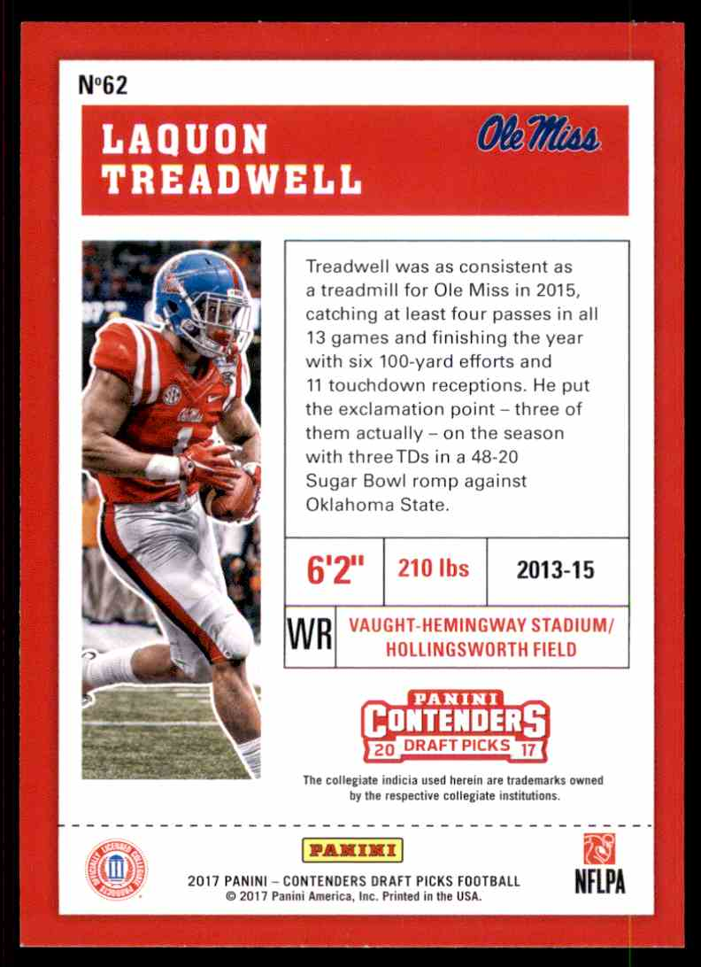 2017 Panini Contenders Draft Picks Laquon Treadwell #62 card back image