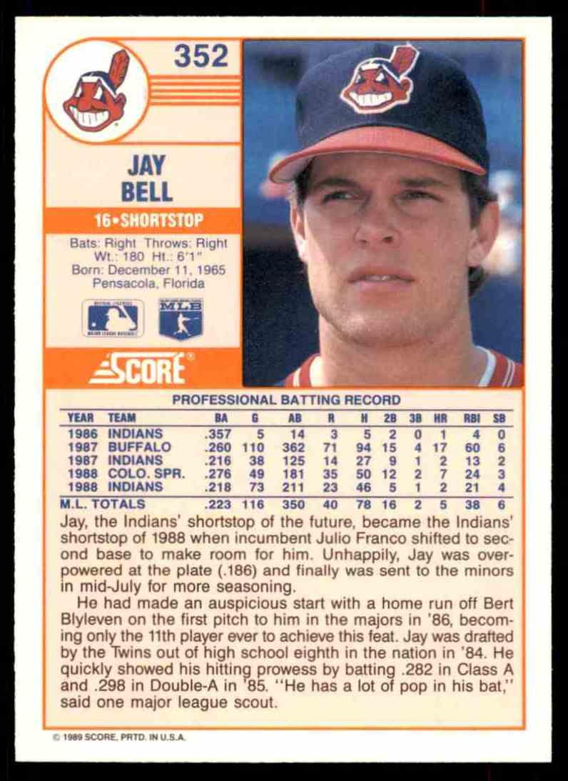 1989 Score Regular Jay Bell #352 card back image