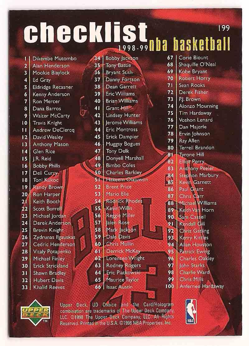 1998-99 Upper Deck UD Choice Michael Jordan #199 card back image