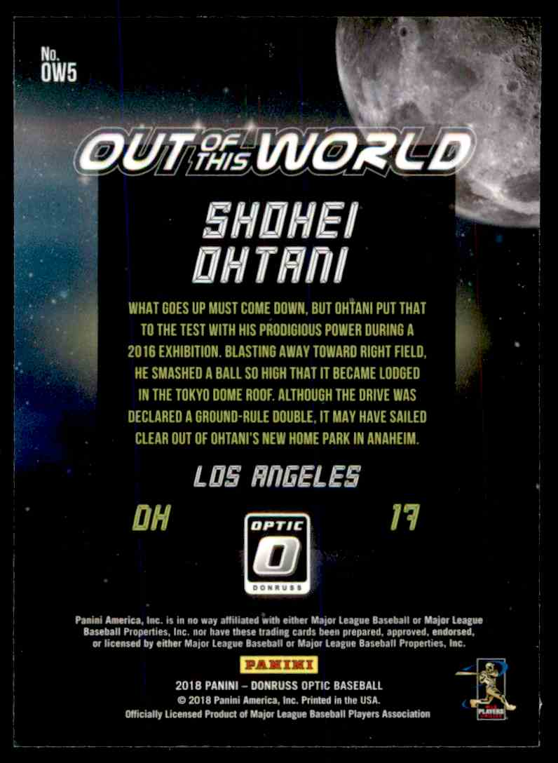 2018 Donruss Optic Out Of This World Shohei Ohtani #OW5 card back image