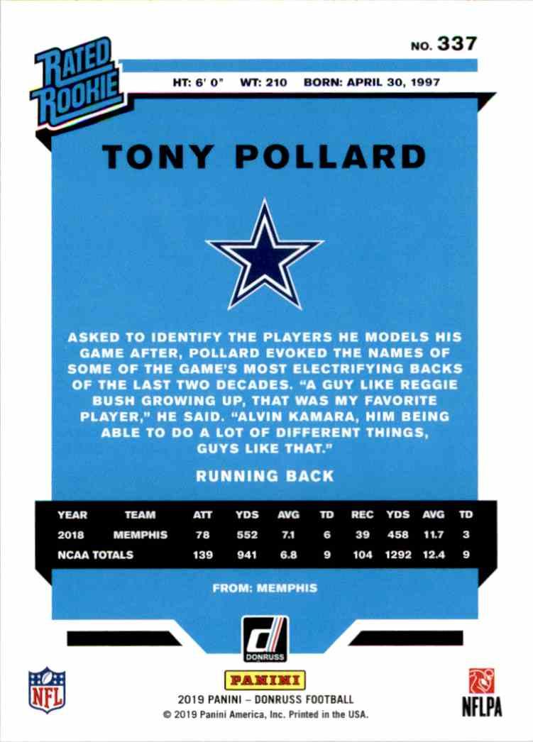 2019 Panini Donruss Rated Rookie Tony Pollard #337 card back image