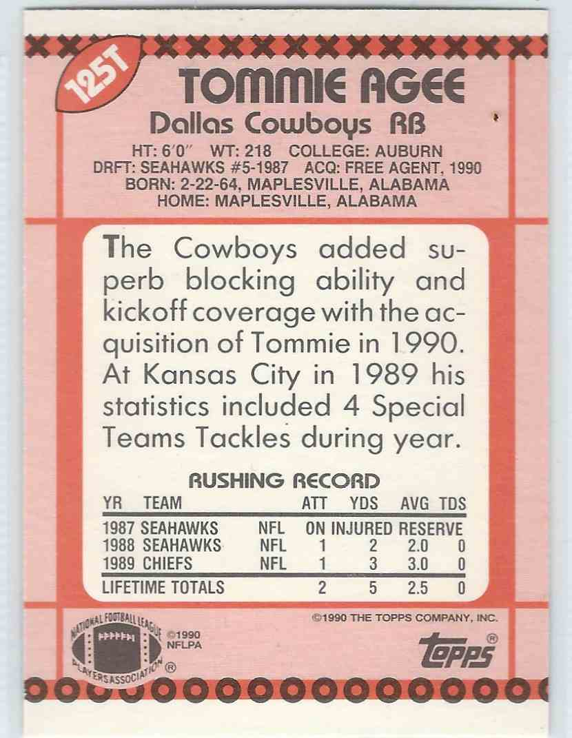 1990 Topps Traded Tommie Agee #125T card back image