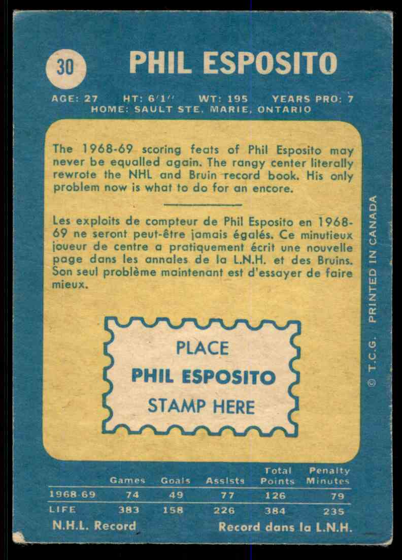 1968-69 O-Pee-Chee Phil Esposito #30 card back image