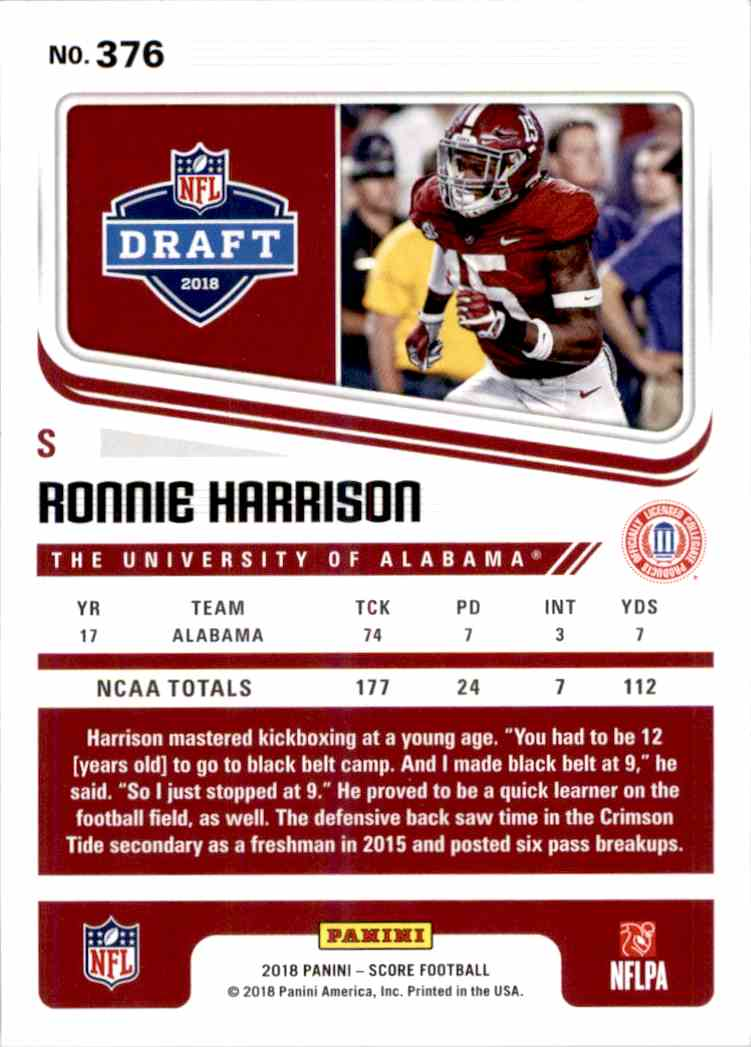 2018 Panini Score Ronnie Harrison #376 card back image