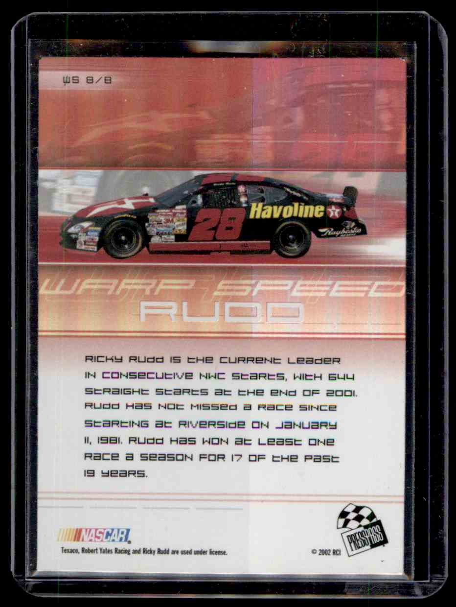 2002 Press Pass Eclipse Warp Speed Ricky Rudd #WS8 card back image