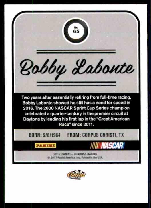2017 Donruss Bobby Labonte #65 card back image