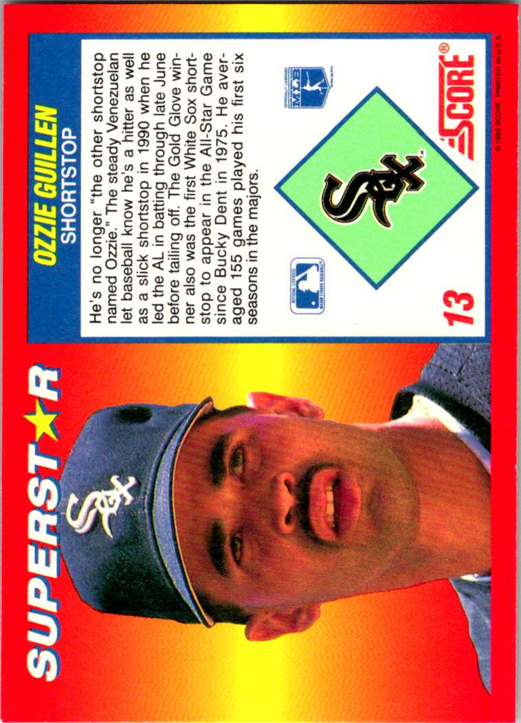 1992 Score 100 Superstars Ozzie Guillen #13 card back image