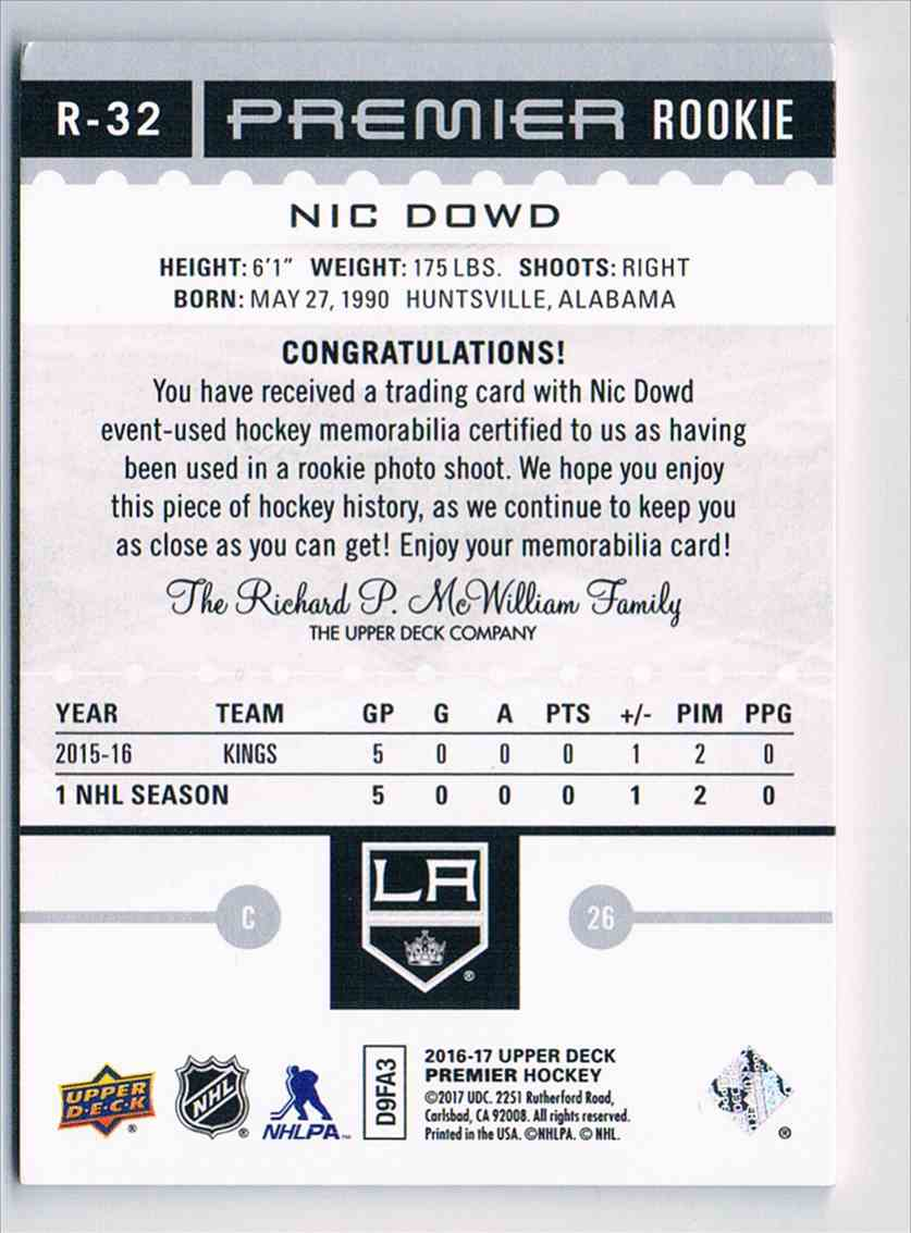 2016-17 Upper Deck Premier Jerseys Nic Dowd #R-32 card back image