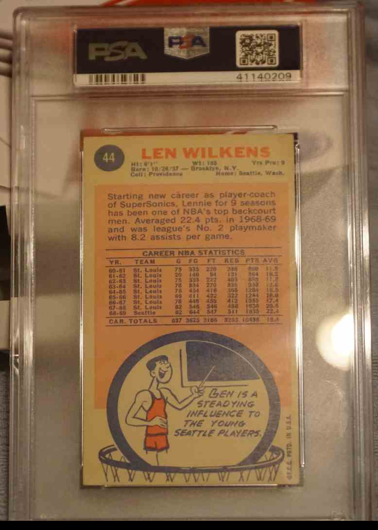 1969-70 Topps Tall Boy PSA DNA Lenny Wilkens card back image