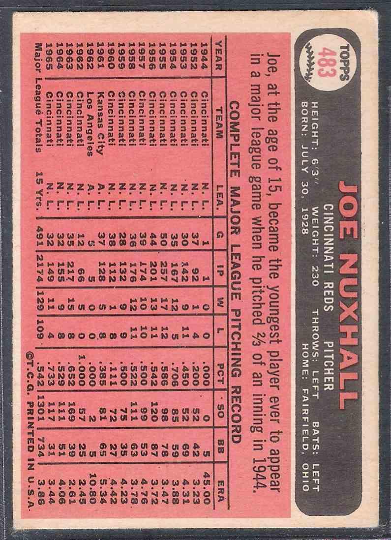 1966 Topps Joe Nuxhall #483 card back image