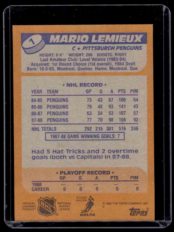 1988-89 Topps Mario Lemieux #1 card back image