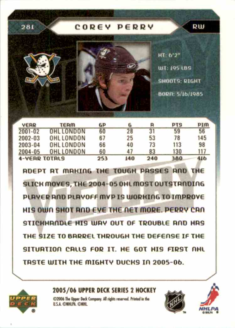 2005-06 Upper Deck Victory Corey Perry #281 card back image