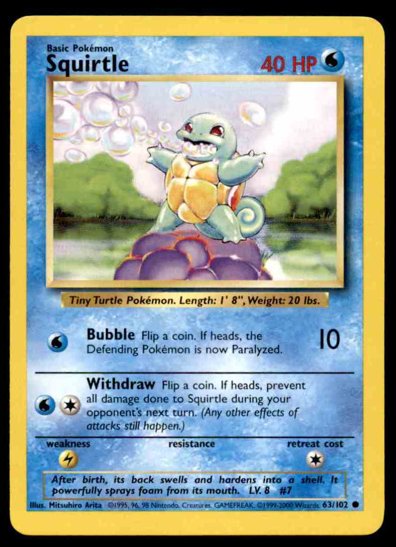 picture regarding Pokemon Card Printable referred to as 1999 Pokemon Card Foundation Mounted 4th Print U.K Squirtle Around Mint