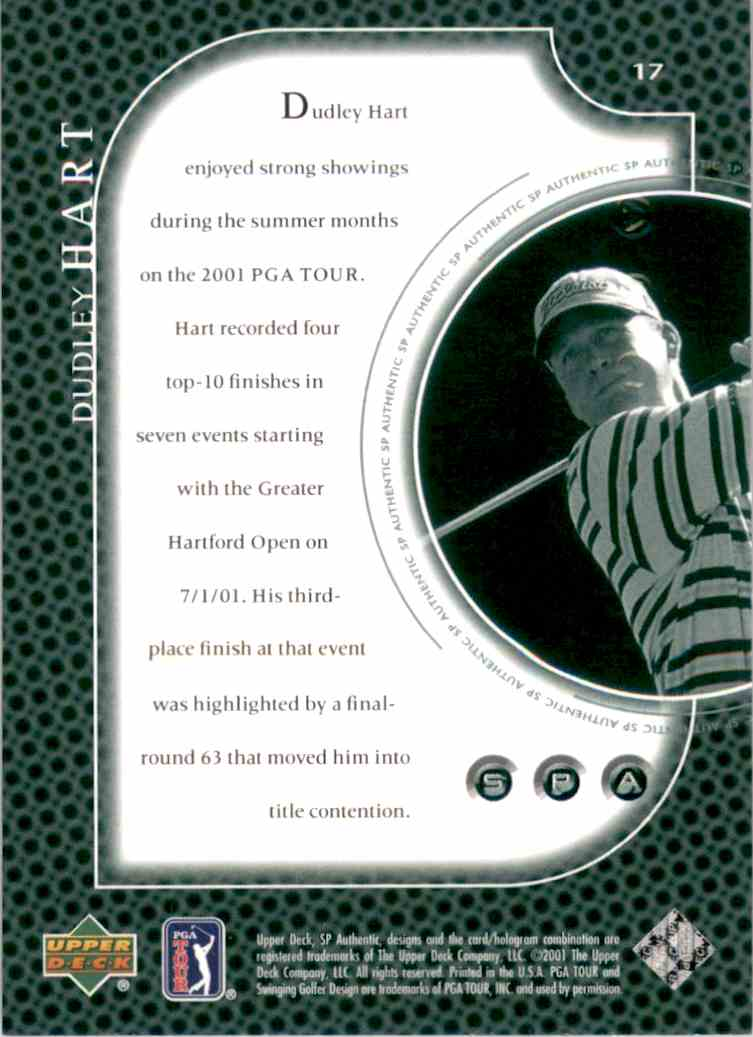 2001 SP Authentic Preview Dudley Hart #17 card back image