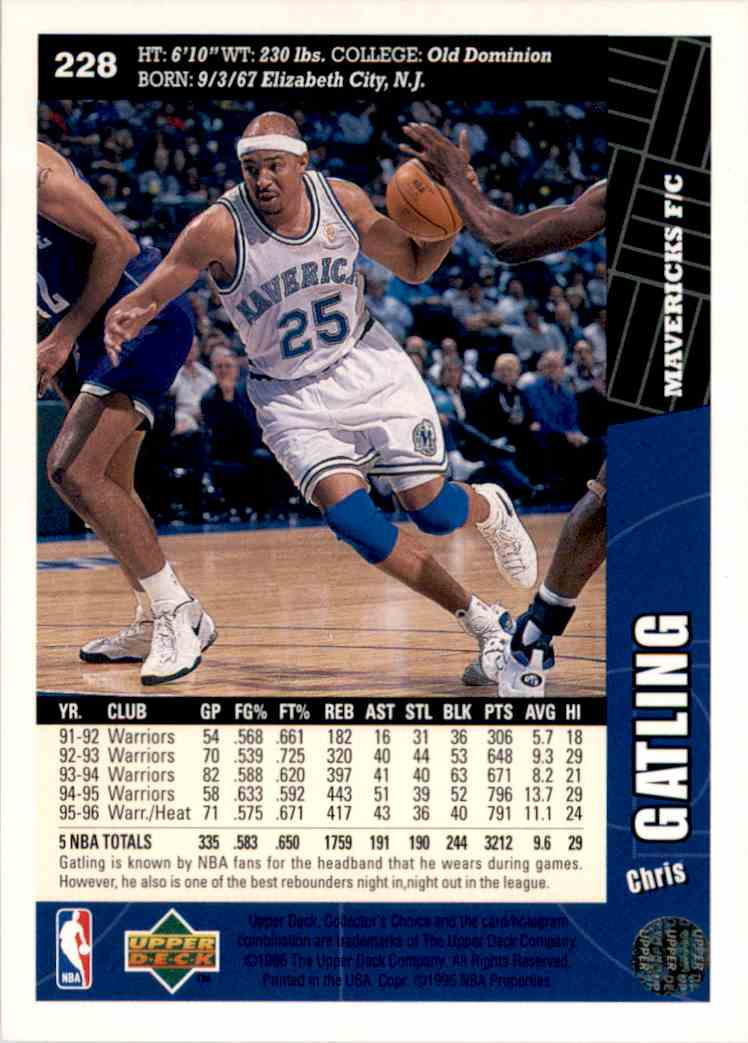 1996-97 Collector's Choice Chris Gatling #228 card back image