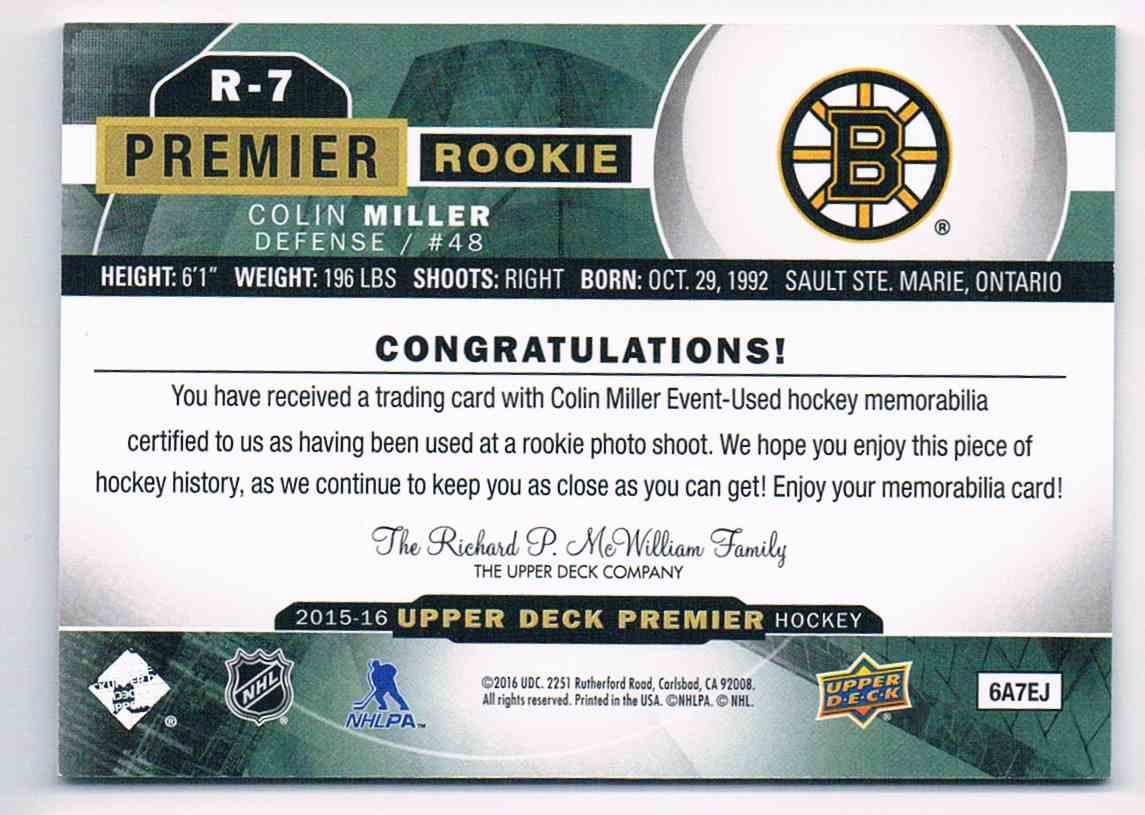 2015-16 Upper Deck Premier Rookie Jersey Colin Miller #R-7 card back image