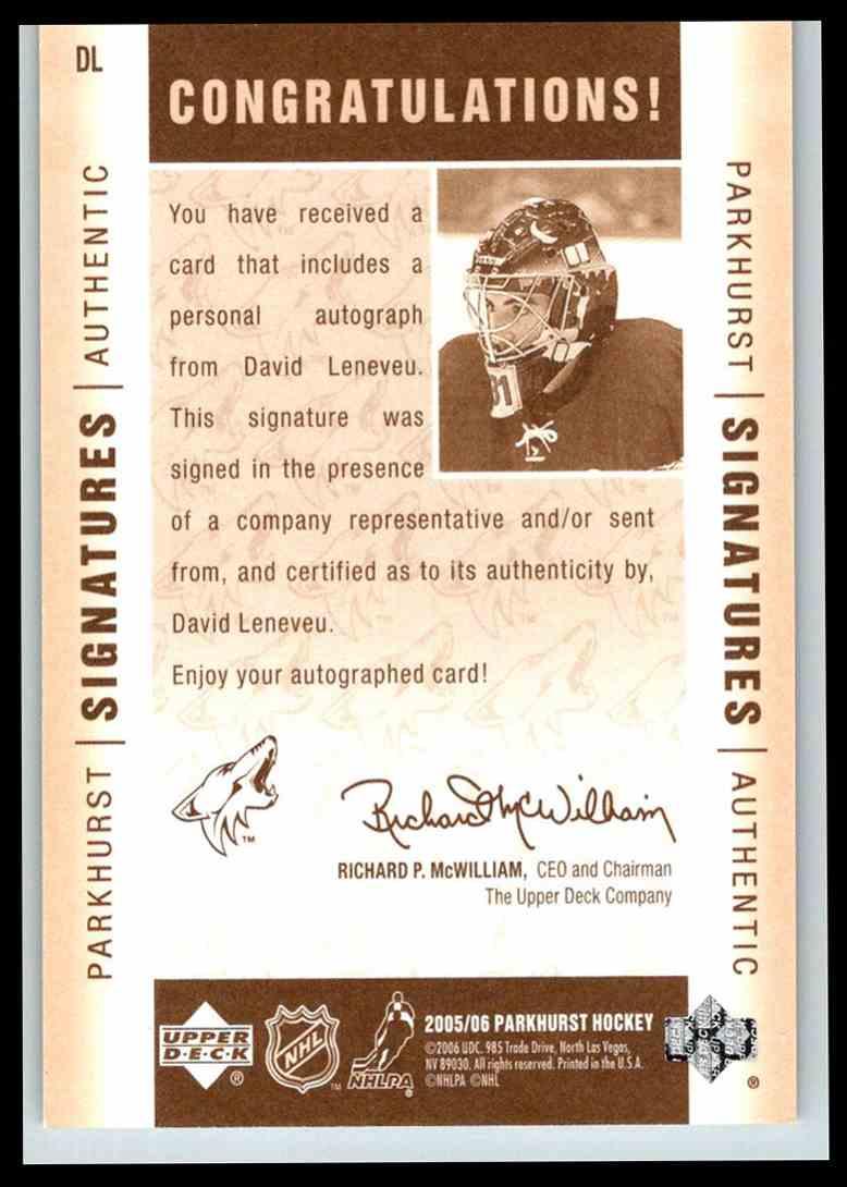 2005-06 Parkhurst Signatures David LeNeveu #DL card back image