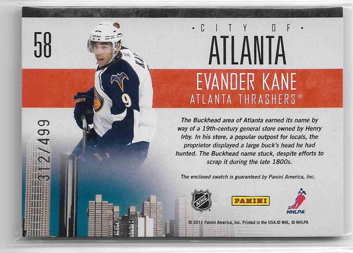2010-11 Panini Pinnacle City Lights Materials Evander Kane #58 card back image