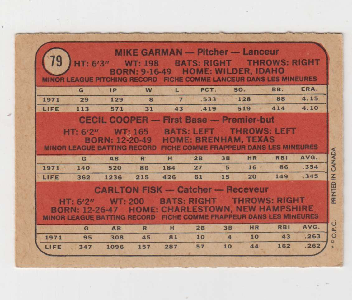 1972 O-Pee-Chee Mike Garman / Cecil Cooper / Carlton Fisk #79 card back image