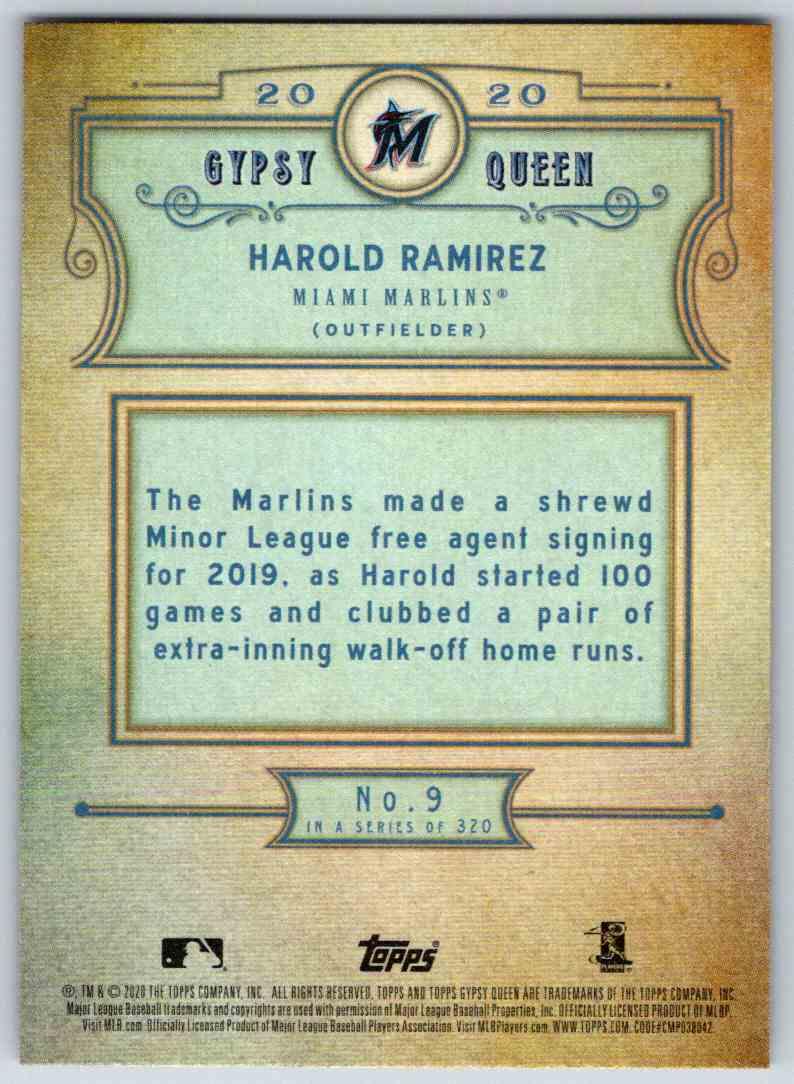 2020 Topps Gypsy Queen Base Harold Ramirez #9 card back image