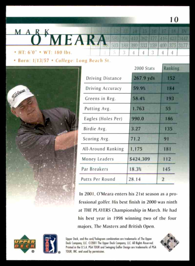 2001 Upper Deck Mark O'Meara #10 card back image