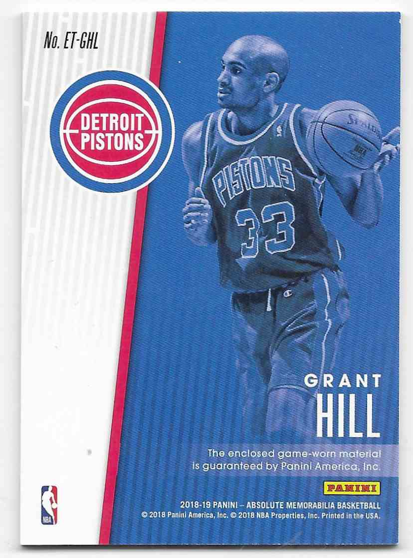 2013-14 Panini Absolute Memorabilia Established Threads Grant Hill #ET-GHL card back image