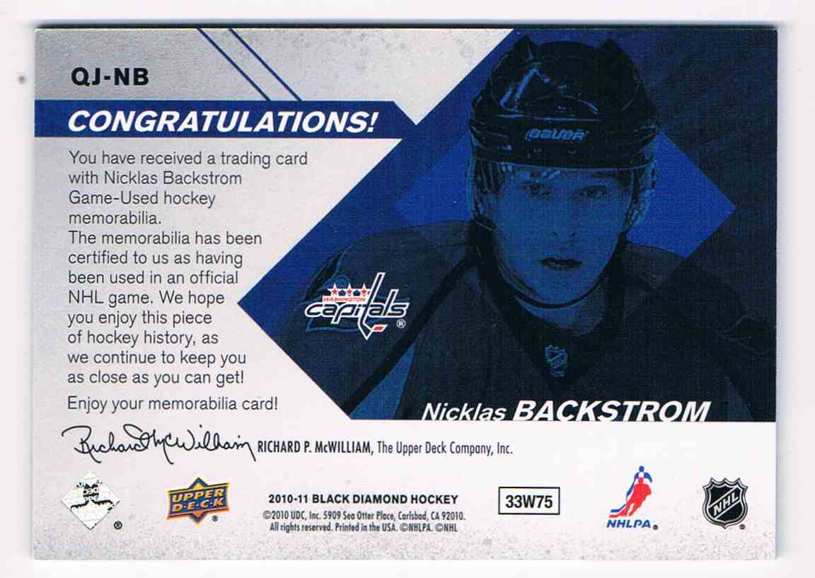 2010-11 Upper Deck Black Diamond Quad Jerseys Nicklas Backstrom #QJ-NB card back image