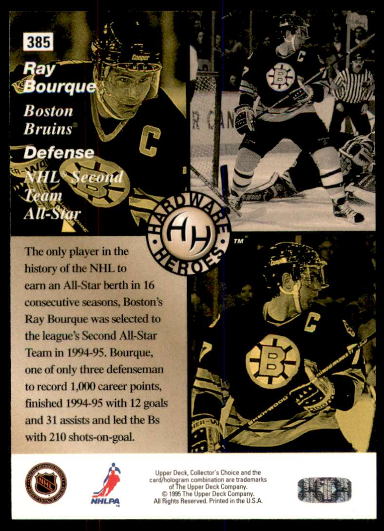 1995-96 Collector's Choice Ray Bourque Hh #385 card back image