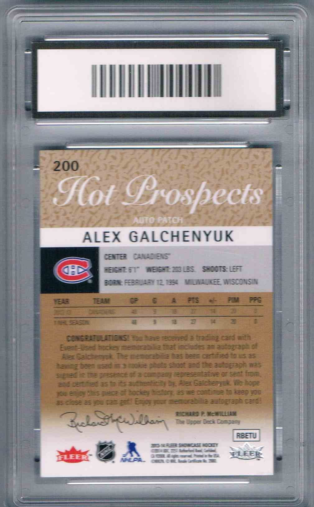 2013-14 Upper Deck Fleer Showcase Rookie Jersey Autograph Alex Galchenyuk #200 card back image