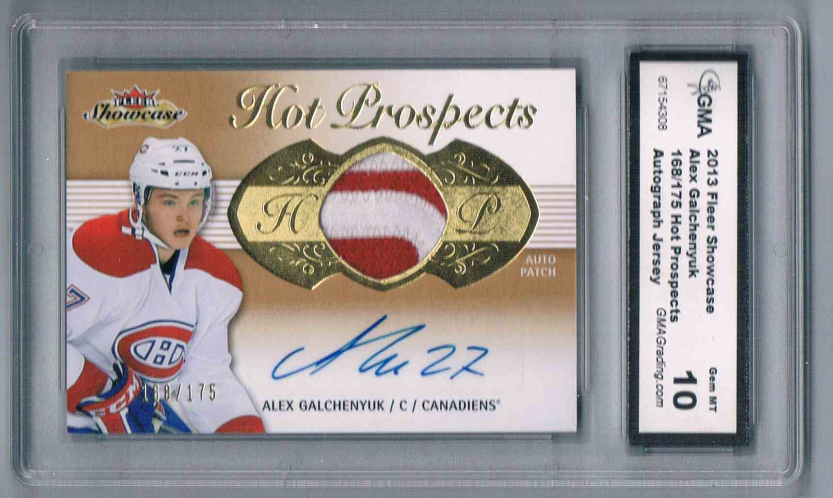 2013-14 Upper Deck Fleer Showcase Rookie Jersey Autograph Alex Galchenyuk #200 card front image